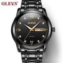 OLEVS Men's Fashion Watches Automatic quartz Watch Black Wrist Wristwatch Stainless Steel Male Clock Men цена и фото