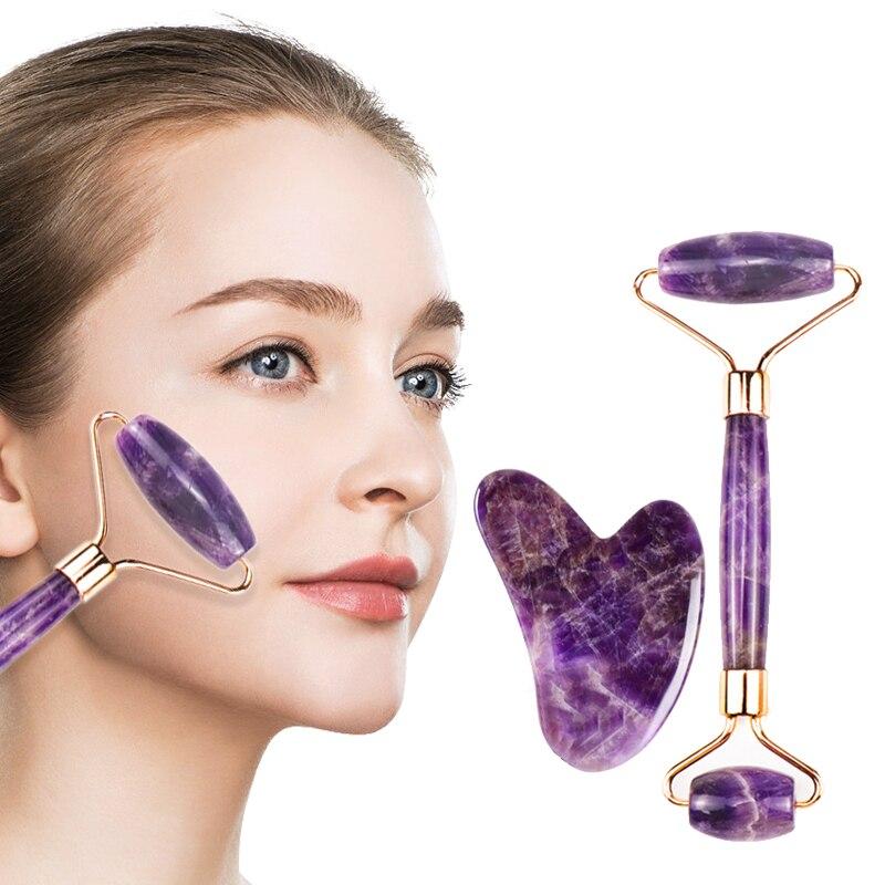 Ametista massageador para face lift up jade pedra rolo natural cristal pedra emagrecimento queixo fino facial beleza cuidados com a pele ferramenta