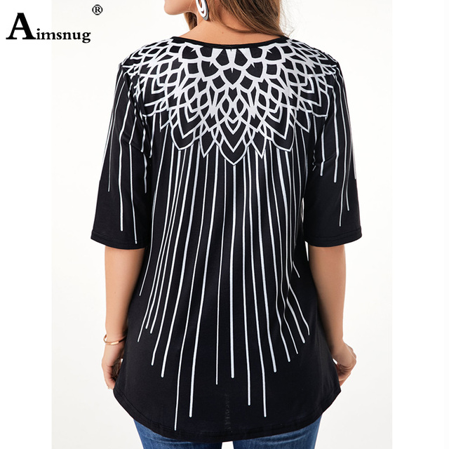New Elegant Summer Fashion Elasticity Female Casual Loose Ladies print Top Half Sleeve T-Shirt 1