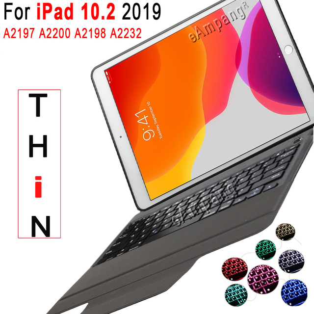 7 תאורה אחורית מקלדת מקרה עבור Apple iPad 10.2 2019 7 7th 8th Gen דור A2197 A2200 A2198 A2232 מקרה עבור iPad 10.2 מקלדת