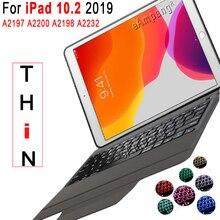 7 caso de teclado retroiluminado para apple ipad 10.2 2019 7 7th geração 8th gen a2197 a2200 a2198 a2232 caso para ipad 10.2 teclado