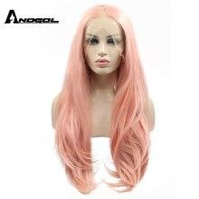 Perucas cor de rosa longas retas transparentes sintéticas da peruca dianteira do laço da marca anogol com extensão da parte livre perucas resistentes ao calor para as mulheres