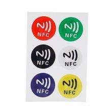 6 шт./лот) NFC метки стикер s NTAG213 NFC метки RFID клейкая этикетка наклейка универсальные этикетки Ntag213 RFID бирка для всех NFC телефонов