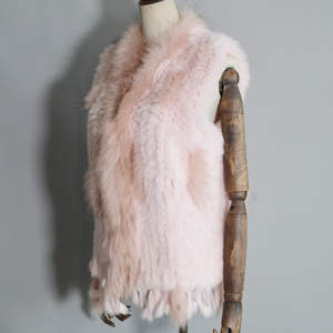 Image 5 - 2020 Women Real Rabbit Fur Vest Handmade Knitted Tassels 100% Real Genuine Rabbit Fur Gilet Real Raccoon Fur Collar Waistcoat