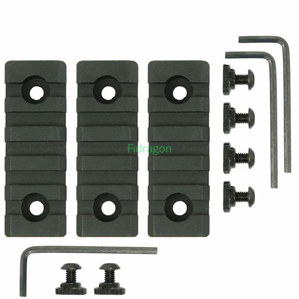 3 Pcs Hunting RIfle Ar15 parts Scope Mounts M-Lok MLOK 5 Slot Picatinny Weaver Rail Handguard Section Aluminum 20mm Rail(China)