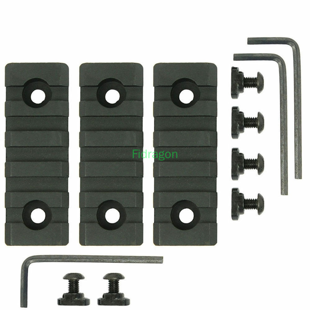 3 Pcs Hunting RIfle Ar15 parts Scope Mounts M-Lok MLOK 5 Slot Picatinny Weaver Rail Handguard Section Aluminum 20mm Rail image