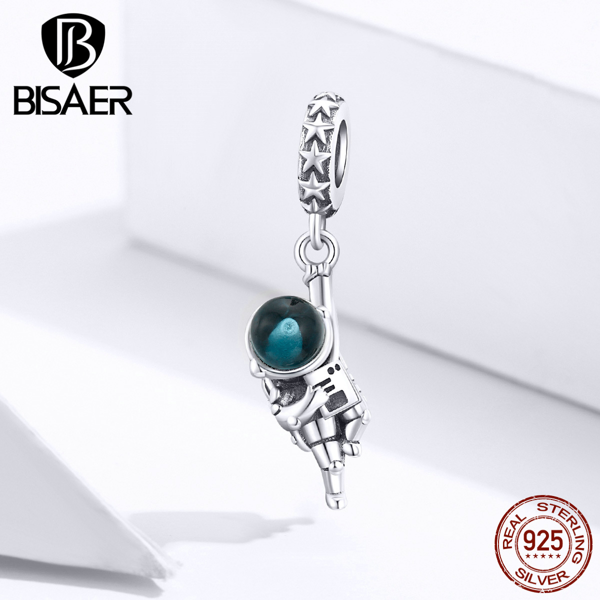Astronaut Pendant BISAER Real 925 Sterling Silver Aviation Astronaut Dream Beads Charms For Original Silver 925 Jewelry EFC202