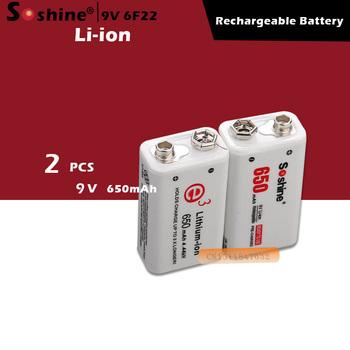 Soshine 2pc 650mAh 9V 6F22 Li-ion akumulator litowy do gitary elektroniczny dym tanie i dobre opinie Baterie Tylko Pakiet 1