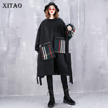 [XITAO] Casual Women  Autumn O neck Full Sleeve Pullover Top Female Patchwork Pullover Pocket Batwing Sleeve Sweatshirt WLD2820
