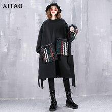 [Xitao] 캐주얼 여성 가을 o 넥 풀 슬리브 풀오버 탑 여성 패치 워크 풀 오버 포켓 batwing 슬리브 스웨터 wld2820