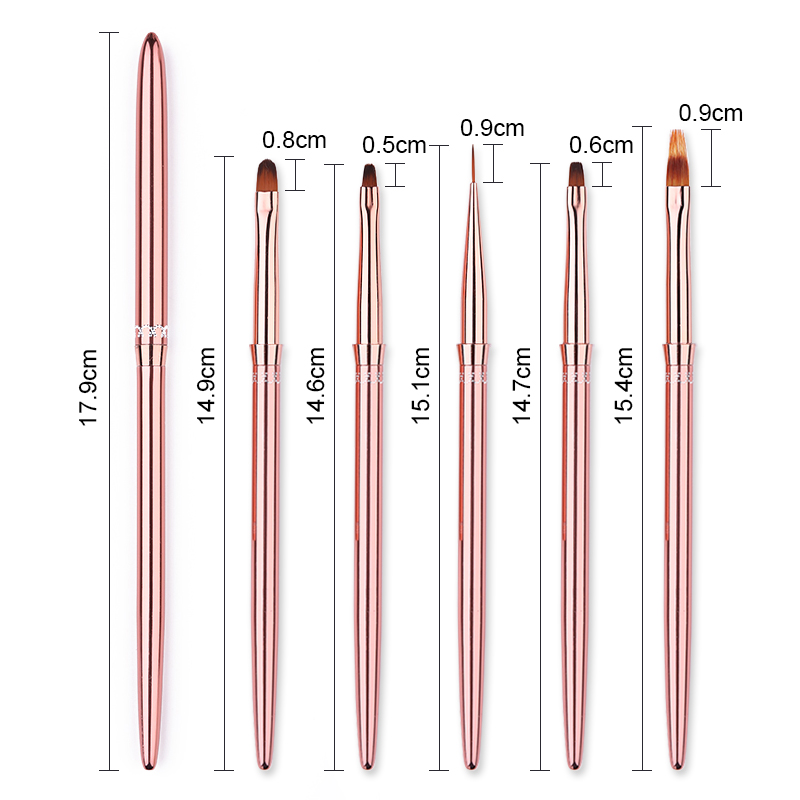 Rose Gold UV Gel Liner Brush For Gel Painting Nail Brush With Portable Handle Gradient Nail Art Tool