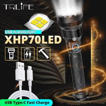 2020 новейший XLamp самый мощный светодиодный светильник-вспышка, фонарь с зумом XHP70, заряжаемый через USB, тактический светильник 18650 26650 XHP50, Охот...