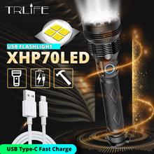 2020 ostatnie XLamp najbardziej potężne latarka led zoom latarka XHP70 USB akumulator latarka taktyczna 18650 26650 XHP50 latarka myśliwska tanie tanio TRLIFE 2-4 plików Aluminium Wysoka średnim niskie Odporny na wstrząsy Samoobrona POWER BANK Twarde Światło Regulowany