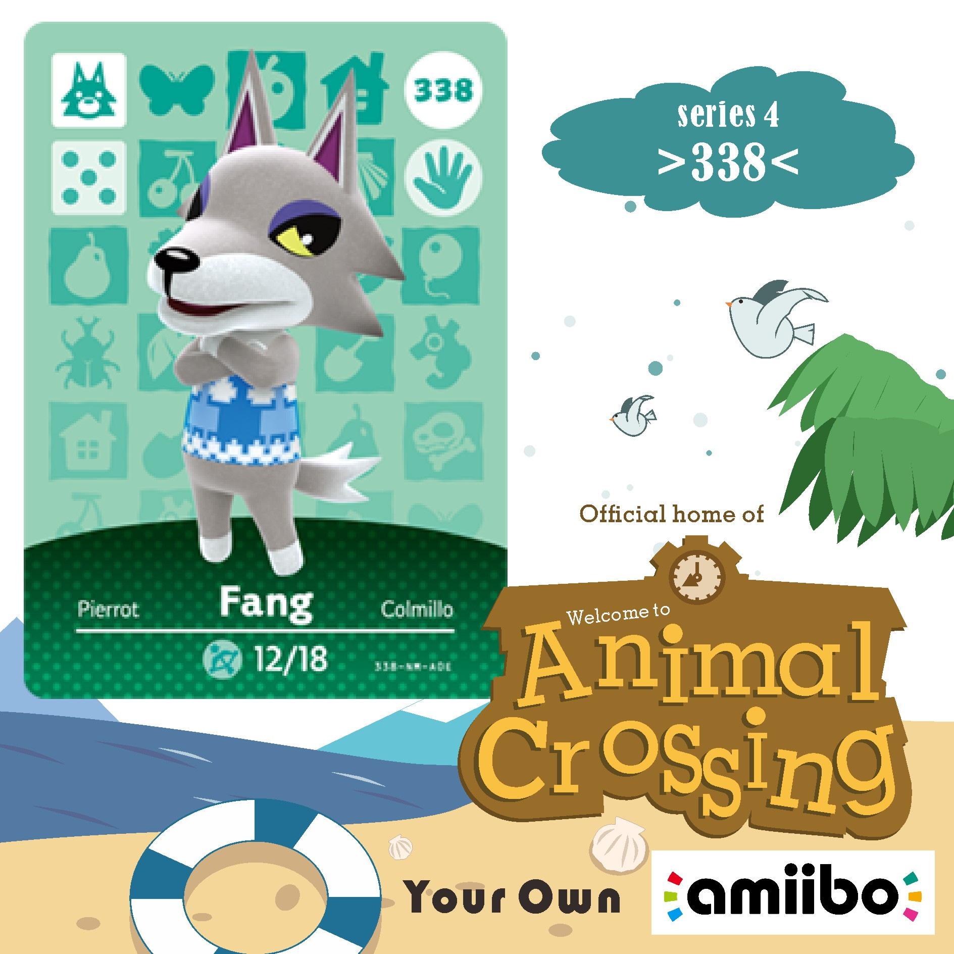338 Animal Crossing Fang Amiibo Card Fang Crossing Switch Rv Welcome Amiibo Villager New Horizons Amiibo Card Gift Cross Cards