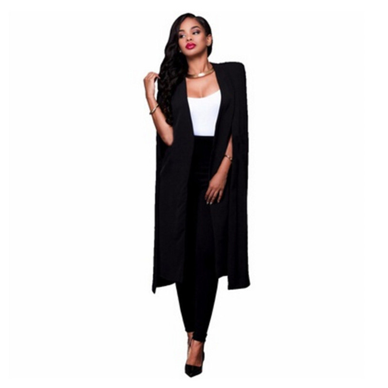 Autumn Personality Solid Color Long Section Big Cloak Elegant Spring Fashion Blazer Jacket Women Casual Sleeveless Coat
