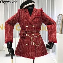 Suit Coat Free-Belt-Bag Tweed Jacket Plaid Slim Double-Breasted Women New Tassel