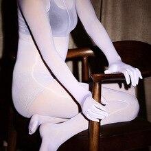 דק פורנו נשים סקסי הלבשה תחתונה Sheer בגד גוף מלא גוף מבריק גרביונים סקסי פתוח מפשעה ילדה גבוהה אלסטי הדוק גוף חליפה