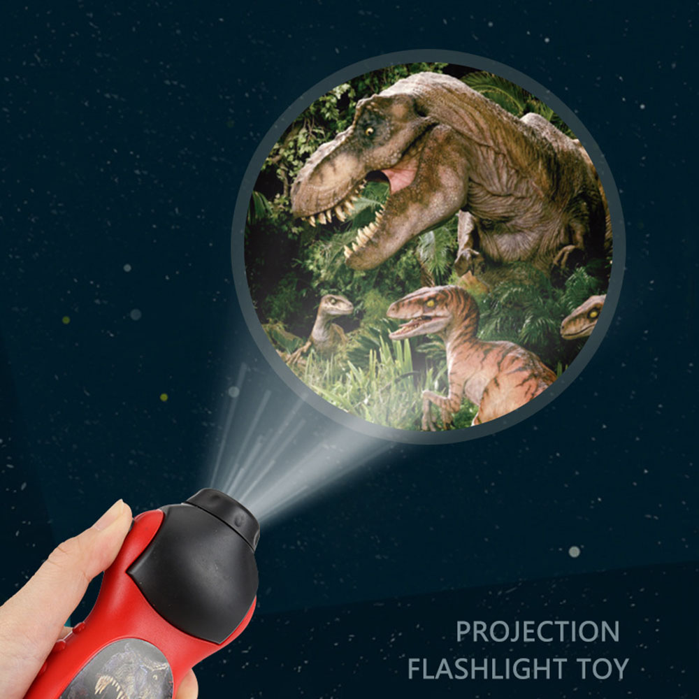 24 Patterns Light Kid Toys Led Flashlight Cartoon Dinosaur Projector Lamp 90 Rotary Wall Projection Flashlight Kid Education Toy