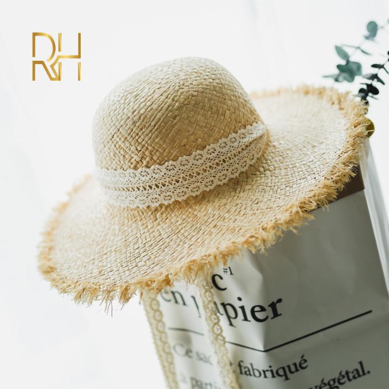 Sun hat handmade white-rpsa striped