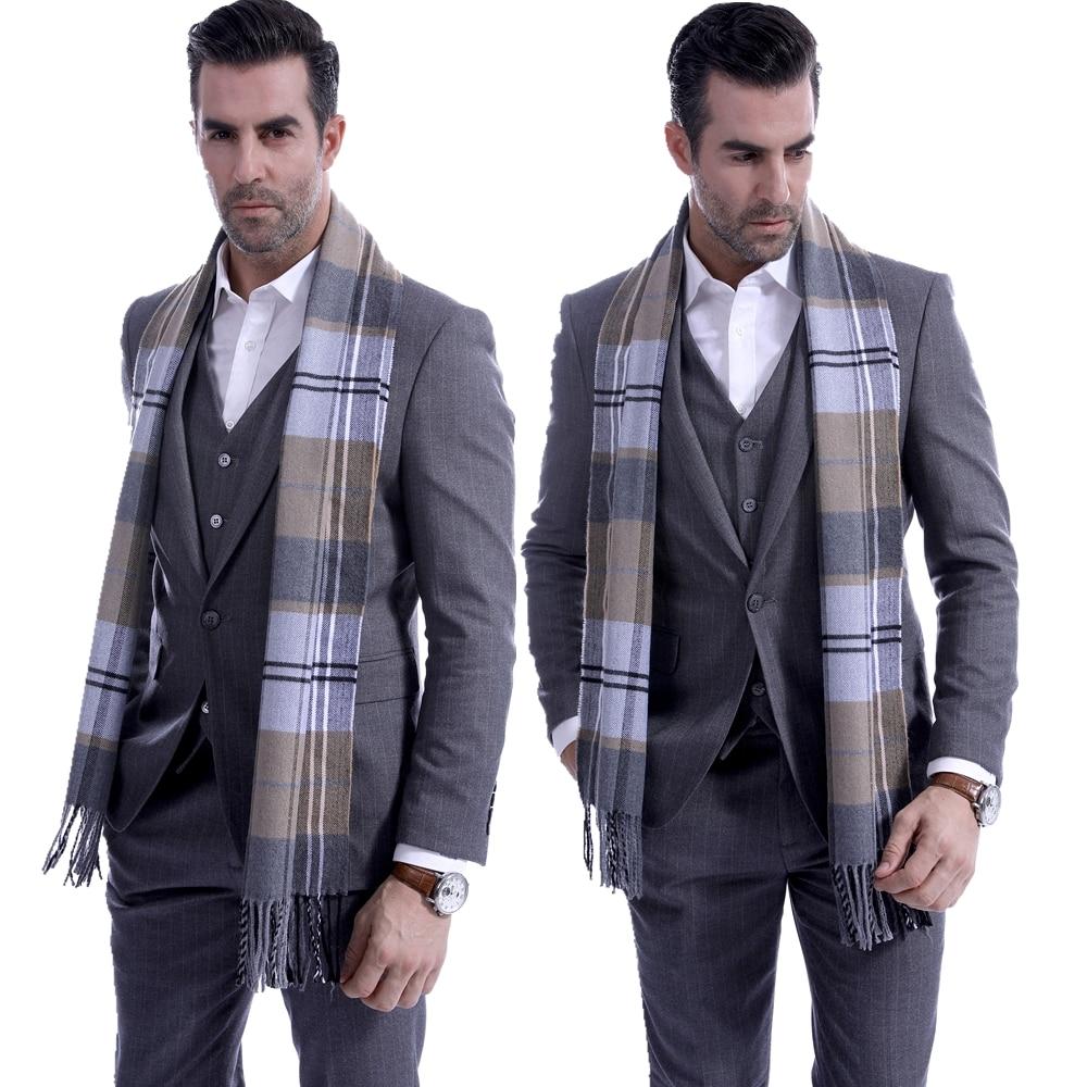 Goocheer Fashion Men Scotland Soft Scarf Men Fine Soft Thermal Scarf Check Plaid Warm Winter Shawl Neck Wrap Long Scarf 190*30CM