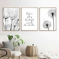 Black And White Pictures Dandelion Painting Canvas Canvas Quote Art Print Nordic Dandelion Poster Wall Art Bedroom Unframed