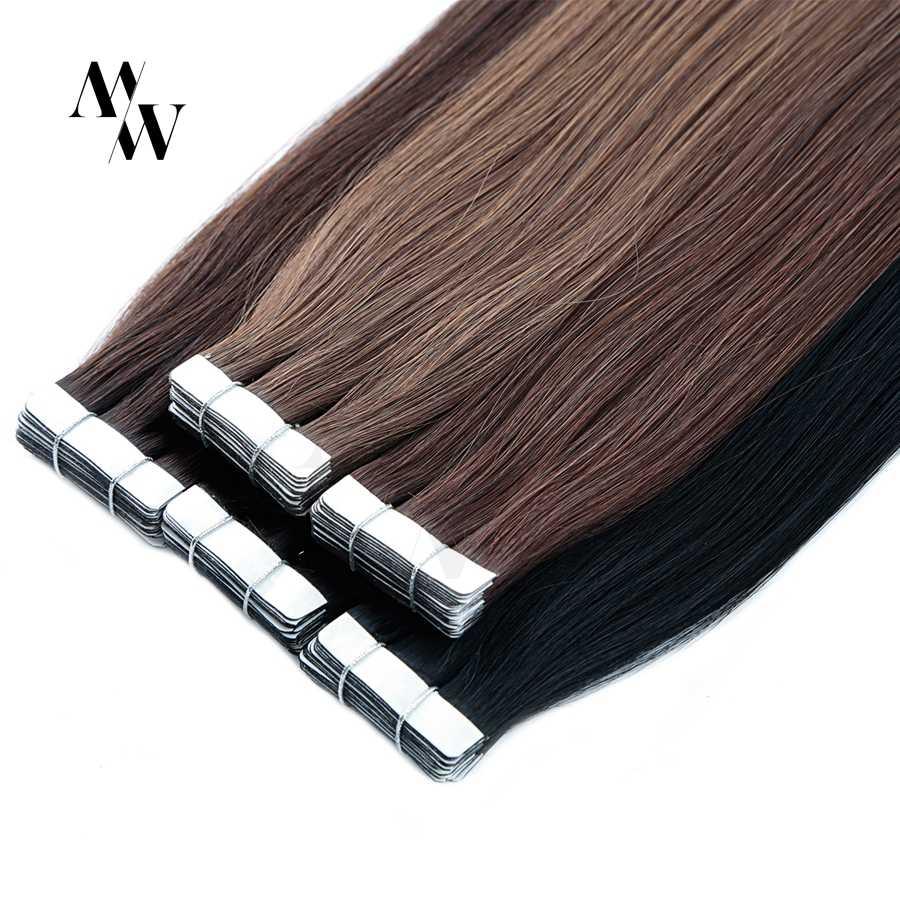 Mw Dubbel Getrokken Remy Tape In Human Hair Extensions 100% Echte Huid Inslag Lijm Haar 16/20/24 Inch Multi-Kleuren