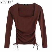Zevity 2021 Femmes Simplement Col Carré Solide Élastique Courte Plissée Chic T-shirt À Manches Longues Décontracté Mince Récolte Hauts LS7650