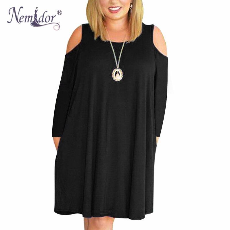 Nemidor Women's Long Sleeve Plus Size  T shirt Dress (1)