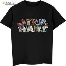 Star Wars Poster Stamp T Shirt Princess Leia Darth Vader Yoda Chewbacca Funny Tshirt Vintage Black Fashion T-Shirt Men