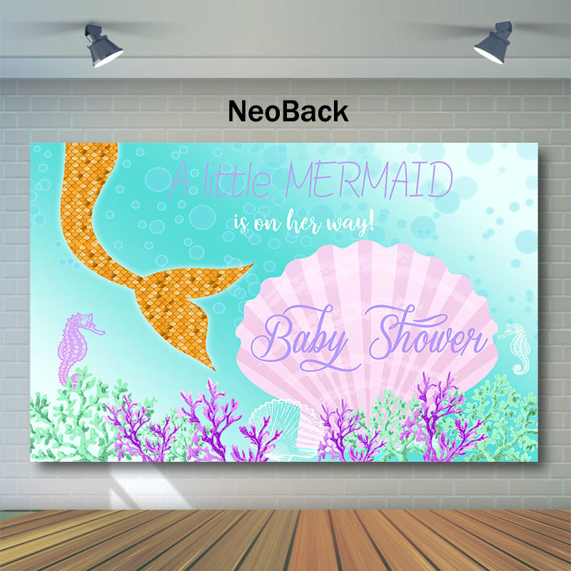 Neoback Mermaid Backdrop Little Baby Shower Photo Background Undersea World Coral Shell Photography Backdrops