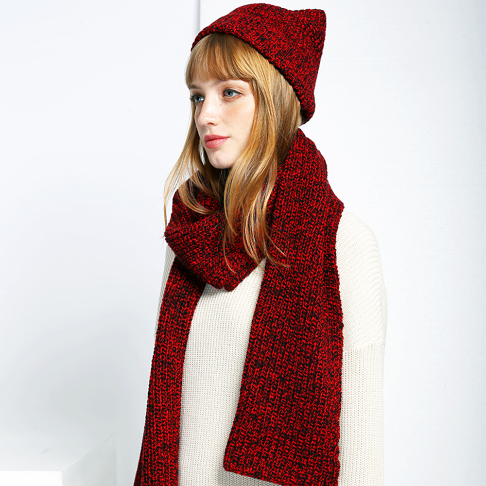 182X35CM Soft Cashmere Knitted Scarve Collar Neck Warmer Woman's Scarves Fashion Winter Scarf With Wild Knit Hat