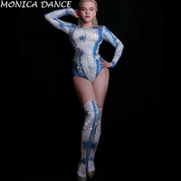 Women Sexy Flashing Rhinestones Stars Pattern Bodysuit Legs Women Singer Prom Costume Evening Bar Outfit Stage Dance Bodysuit