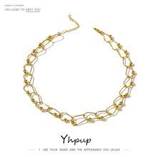 Necklace Torques Yhpup 14 K Chain Copper-Collar Fashion Golden Women Metal Temperament