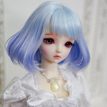Modikerbjd chica gradiente azul rizado Rinka corte de pelo peluca corta para muñecas BJD 1/4 1/3 Peluca de pelo Bob accesorios-No muñeca