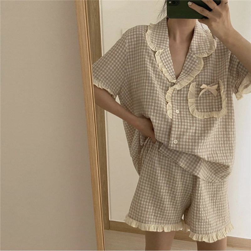Alien Kitty Hot Loose Pajamas Suits Home Clothes 2020 Plaid Soft Chic Sweet Minimalist Ruffles Shorts Leisure Fashion Sleepwear