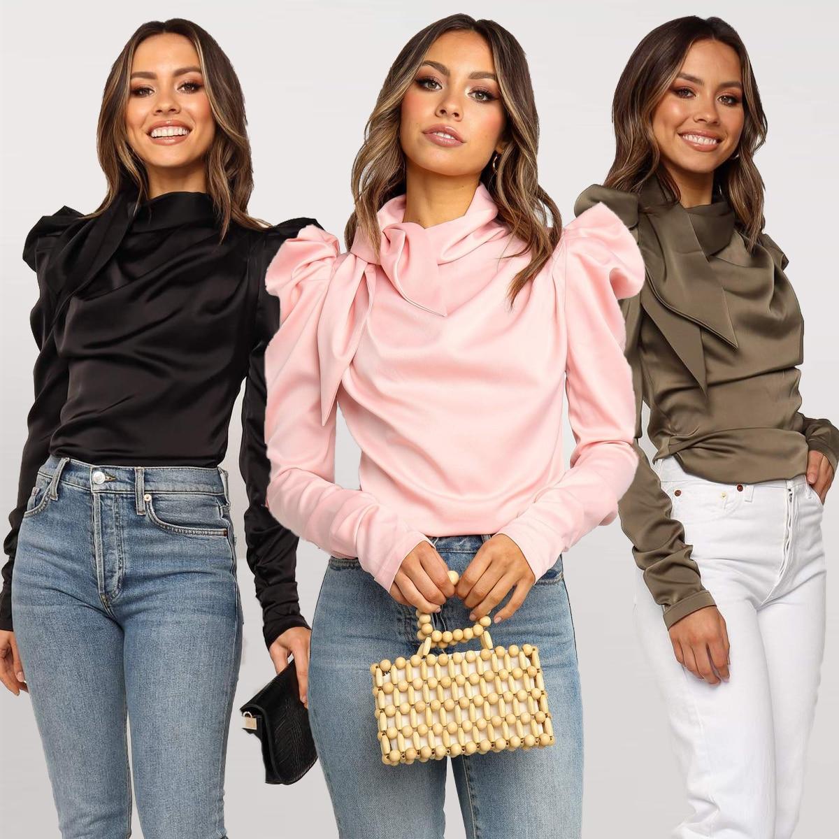 Femmes Satin Blouses 2019 mode arc cou à manches longues bouffantes noir élégant Blouse Chemise bureau dame classique Blusas Chemise Femme