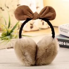 Cute Rabbit Ears Bowknot Earmuffs for Ladies Winter Imitation Rabbit Fur Super Large Ear Warmer Earmuffs Cover Headband
