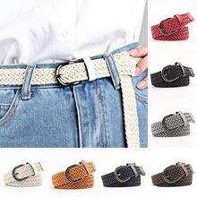 103cm dorywczo wosk liny pleciony pas kobiet pas Stretch tkane pasek damski z metalową klamrą do spodni dżinsy kobiece pas