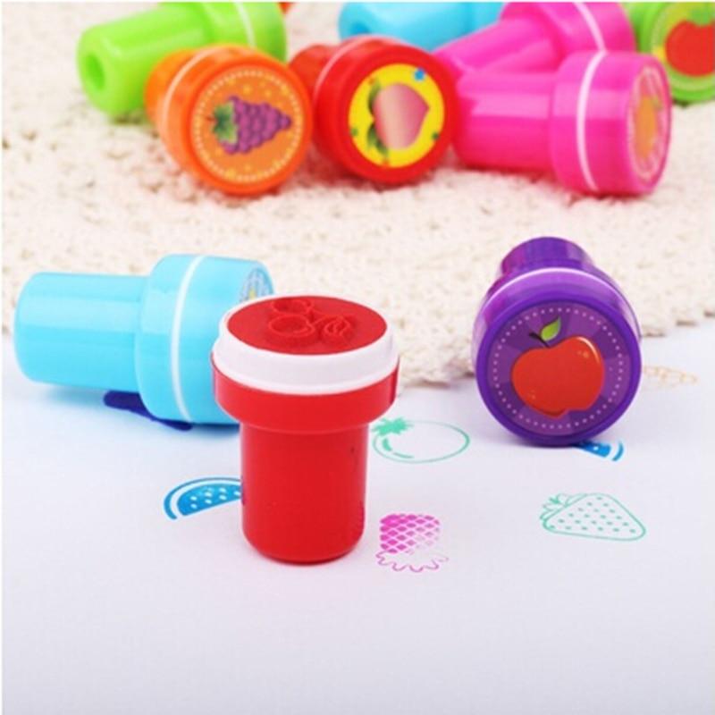 12pcs/Box Children Toy Rubber Stamps Cartoon Fruits Kid Seal DIY Scrapbook Photo Album Decor Stamper High Quality Simple