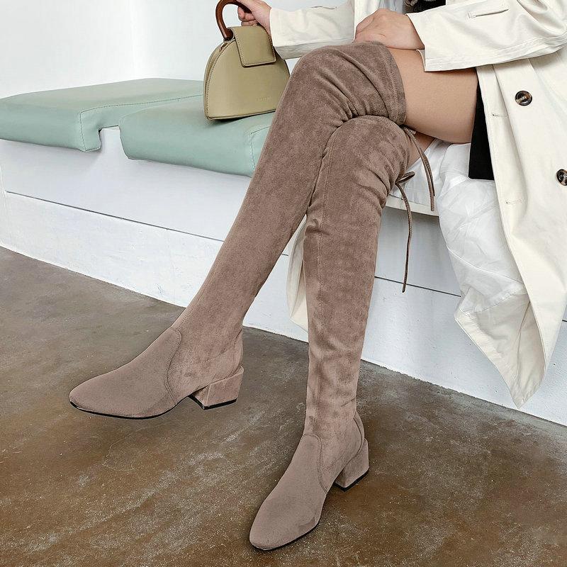 Nude Thigh High Boots Women Fashion