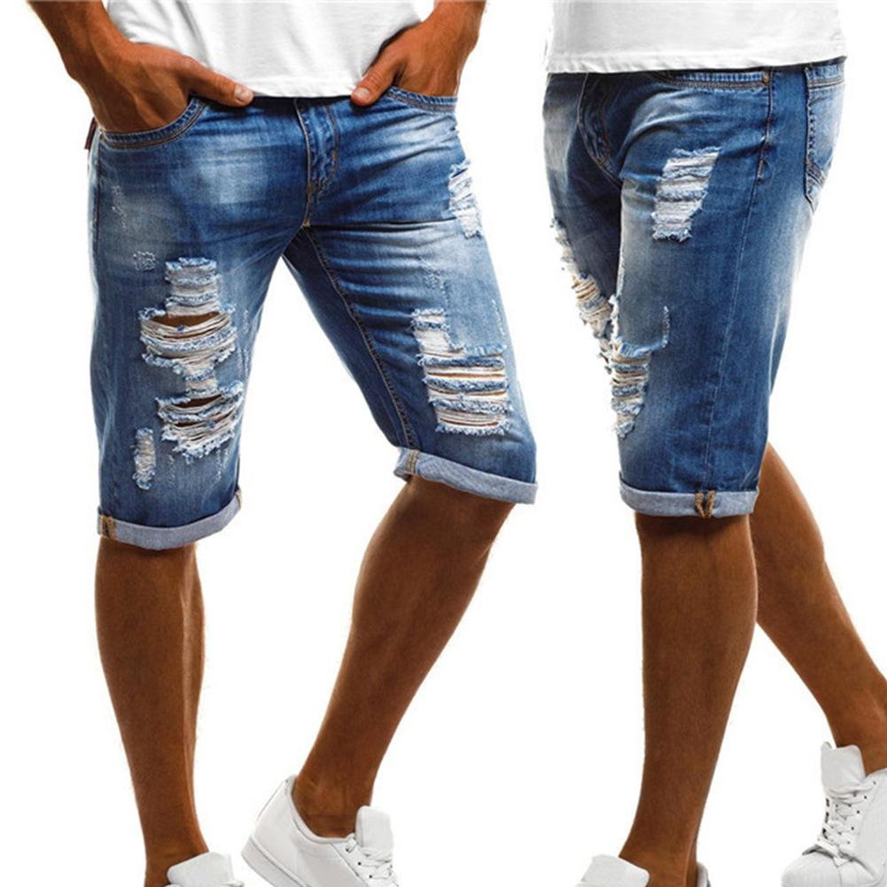 2019 Fashion Plus Size Vintage Summer Men Ripped Jeans Turn Up Cuff Fifth Pants Denim Shorts Jeans Men