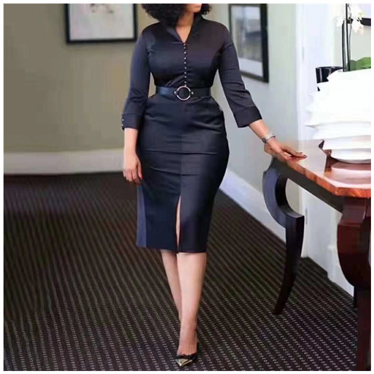 2020 New Arrival Sexy African Women Summer V-neck Long Sleeve Plus Size Knee-length Dress S-3XL