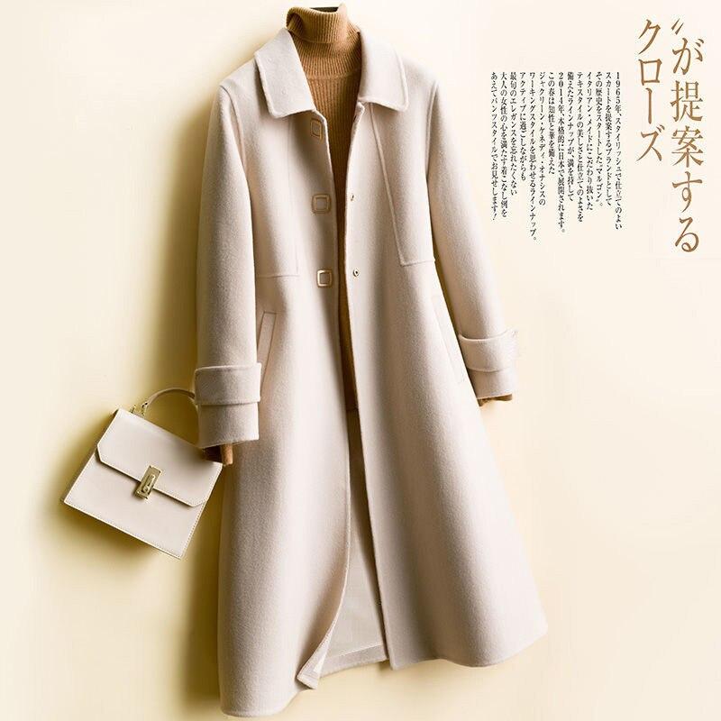 Шерстяное пальто женское осеннее и зимнее длинное пальто Корейская версия 2019 Heben Ветер Шерсть небольшой сплошной цвет шерстяное