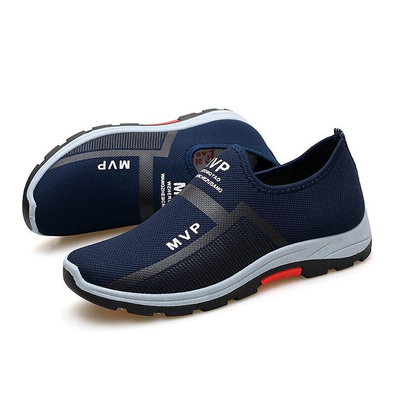 Кроссовки мужские сетчатые для прогулок, легкие дышащие лоферы, без шнуровки, модная повседневная обувь, летние