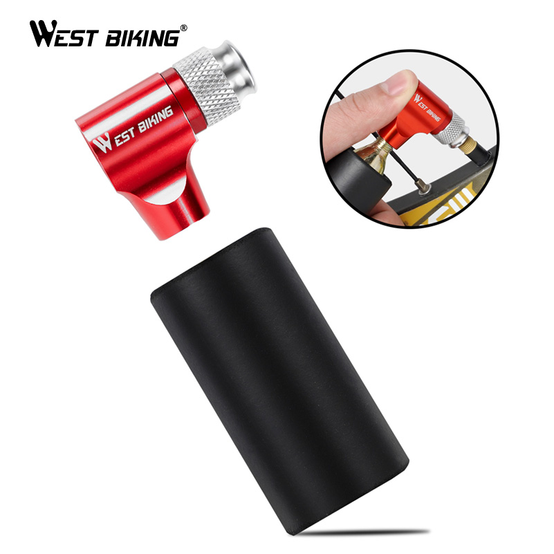WEST BIKING Portable Bike Pump Air CO2 Inflator Insulated Sleeve Bicycle Accessories Schrader & Presta Valve Mini Bicycle Pump