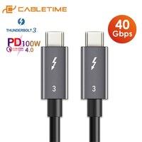 CABLETIME PD 100W 40Gbps Câble Thunderbolt 3 Type C à C USB C certifié de Rapide USB C Câble pour Macbook Pro Chargent Vite C024