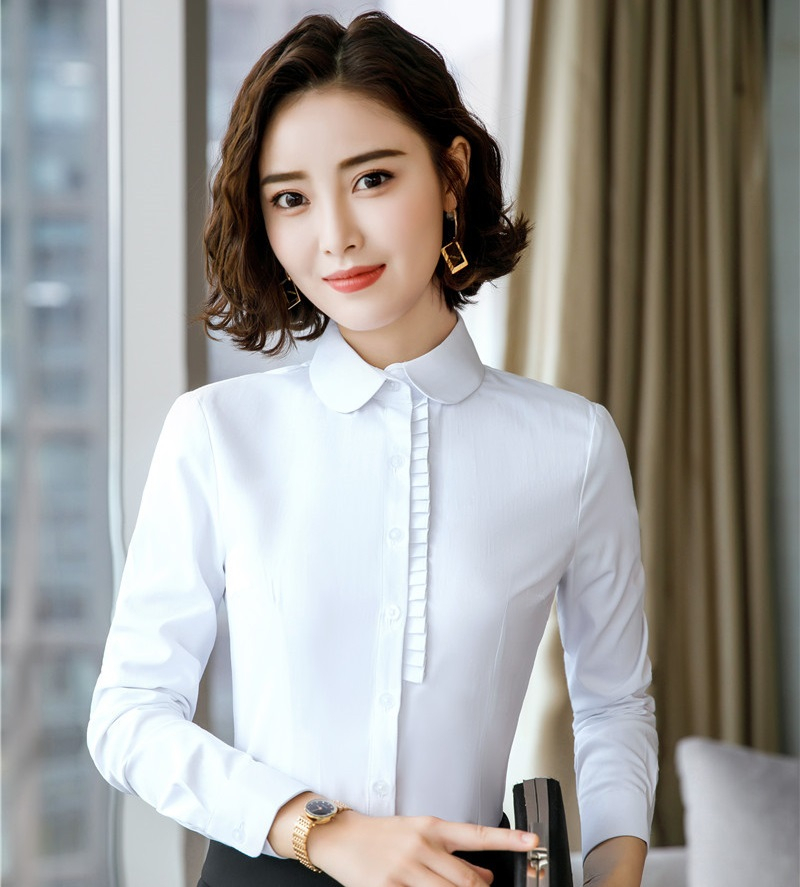 Ladies Office Elegant White Blouses And Shirts For Women Business Work Wear OL Styles Long Sleeve Tops Clothes Blouse