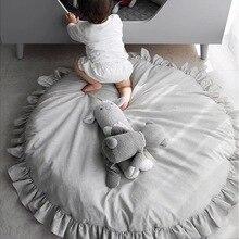 Кружевной хлопковый детский коврик, мягкий детский игровой коврик, игровой коврик для ползания, круглый коврик, толстые коврики, декор для детской комнаты, диаметр 100 см