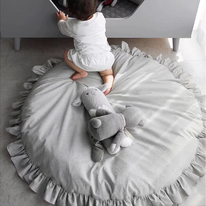 Lace Cotton Kids Rug Soft Baby Game Play Mat Toys Playmat Crawling Round Floor Carpets Rug Thick Mats Kids Room Decor Dia 100CM