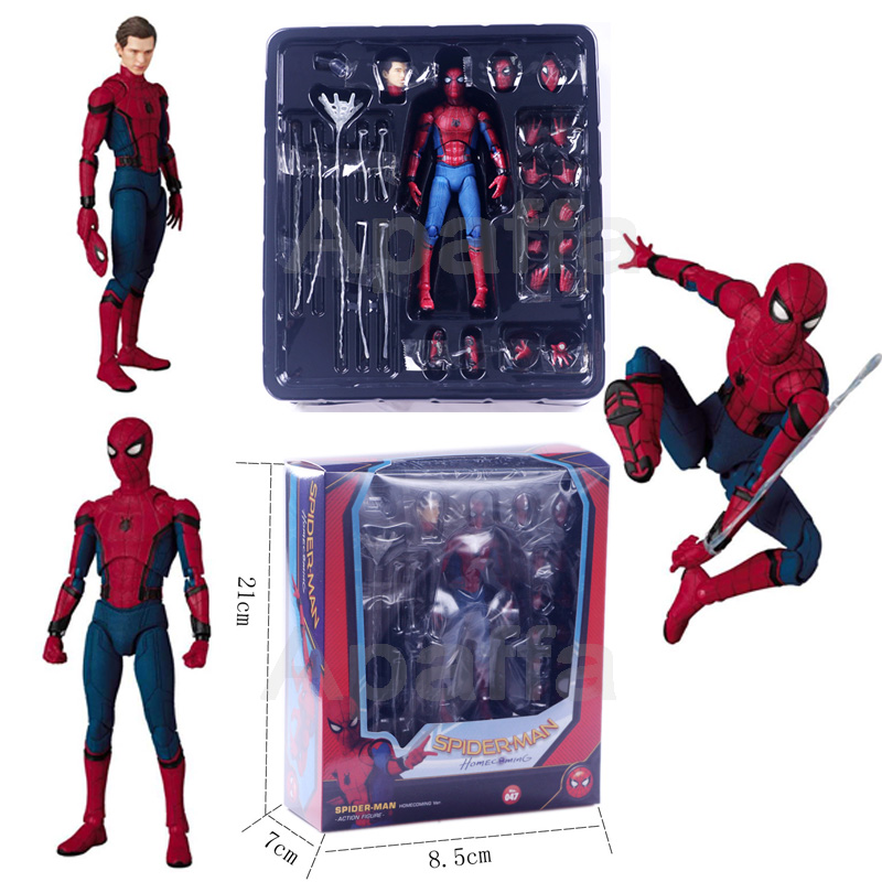 15cm Anime Spiderman MAF047 Avengers Spider Man Homecoming Ver. PVC Action Figure Collectible Model Toys Doll